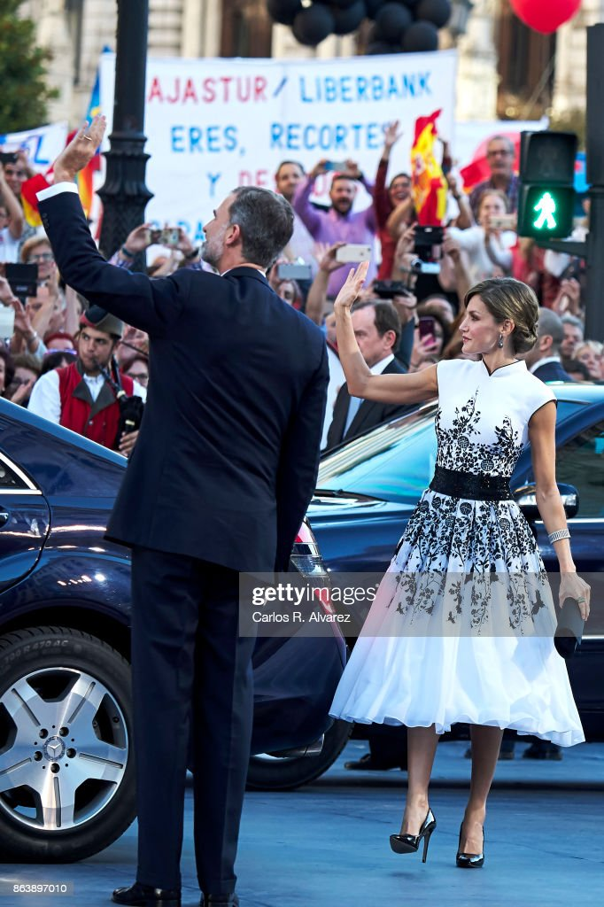 King Felipe VI of Spain and Queen Letizia of Spain attend the Princesa de Asturias Awards 2017 ceremony at the Campoamor Theater on October 20, 2017 in Oviedo, Spain.
