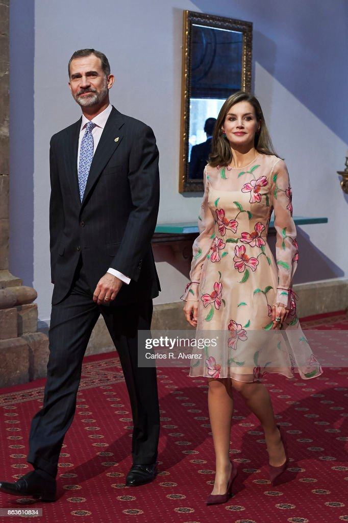 King Felipe VI of Spain and Queen Letizia of Spain attend the deliver of Princess of Asturias awards medals during the Princess of Asturias Award 2017 at the Reconquista Hotel on October 20, 2017 in Oviedo, Spain.