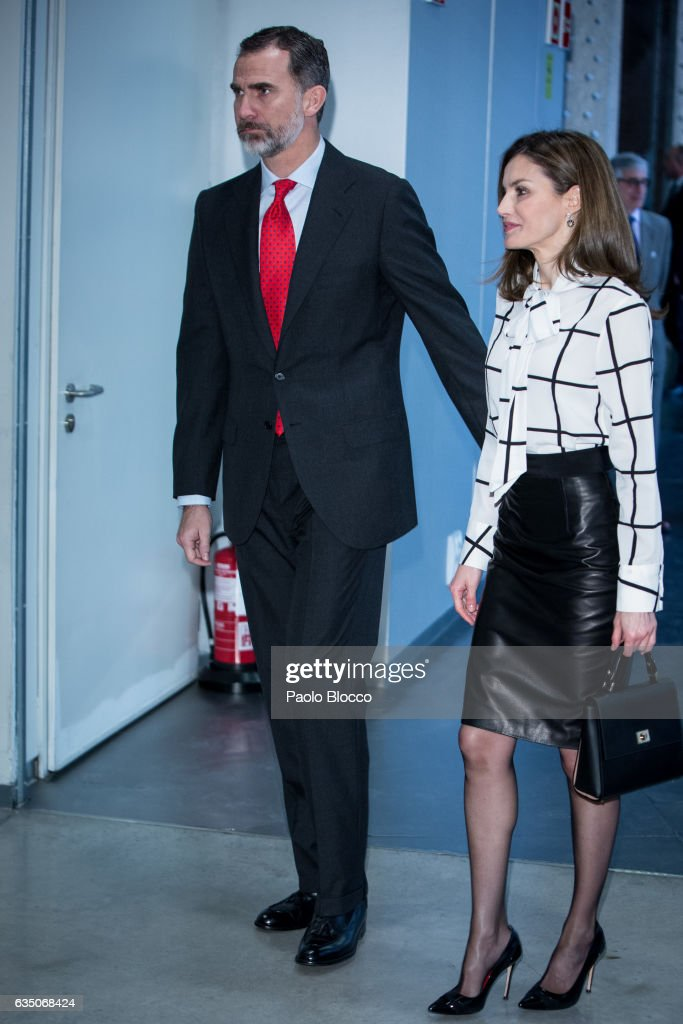 King Felipe VI of Spain and Queen Letizia of Spain attend the 'El Valor Economico del Espanol' conference at Telefonica Foundation on February 13, 2017 in Madrid, Spain.