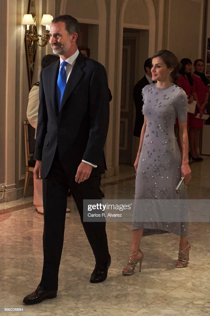 King Felipe VI of Spain and Queen Letizia of Spain attend the Europa Press news agency 60th Anniversary at the Villa Magna hotel on May 30, 2017 in Madrid, Spain.