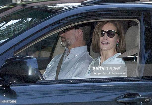 King Felipe VI of Spain and Queen Letizia of Spain attend the First Communion of Luis and Laura GomezAcebo on May 23 2015 in Madrid Spain
