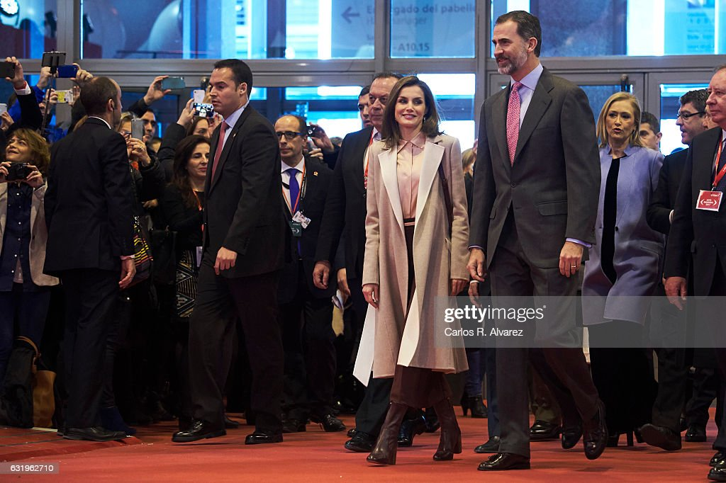 King Felipe VI of Spain and Queen Letizia of Spain attend the FITUR International Tourism Fair opening at Ifema on January 18, 2017 in Madrid, Spain.