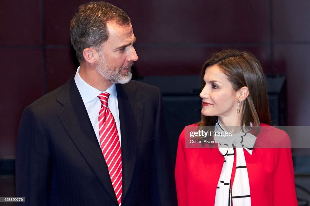 King Felipe VI of Spain and Queen Letizia of Spain attend the acreditations ceremony for honorary Spain 'Brand Ambassadors' at the Reina Sofia Museum on March 14, 2017 in Madrid, Spain.