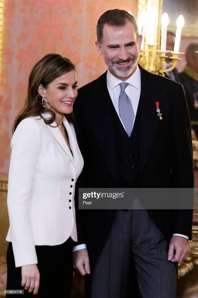 King Felipe VI of Spain and Queen Letizia of Spain attend the Foreign Ambassadors Reception at The Royal Palace on January 31, 2018 in Madrid, Spain.