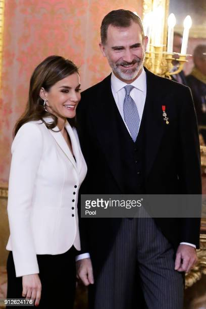 King Felipe VI of Spain and Queen Letizia of Spain attend the Foreign Ambassadors Reception at The Royal Palace on January 31 2018 in Madrid Spain