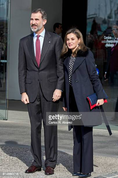 King Felipe VI of Spain and Queen Letizia of Spain attend the Gold Medals of Merit in Fine Arts 2016 ceremony at the Pompidou Center on February 6...