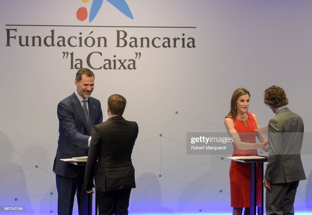 King Felipe VI of Spain (L) and Queen Letizia of Spain (R) attend the 'La Caixa' Scholarships held at the headquarters for La Caixa on May 23, 2017 in Barcelona, Spain.