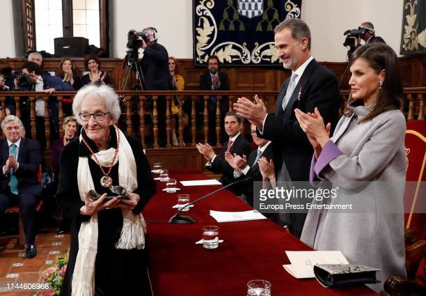 King Felipe VI of Spain and Queen Letizia of Spain attend the 'Miguel de Cervantes 2018' Award given to Uruguayan writer Ida Vitale at Alcala de...