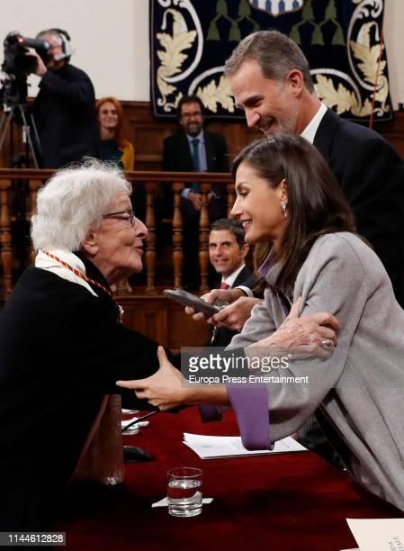 King Felipe VI of Spain and Queen Letizia of Spain attend the 'Miguel de Cervantes 2018' Award, given to Uruguayan writer Ida Vitale at Alcala de...