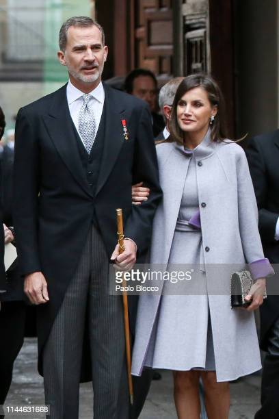 King Felipe VI of Spain and Queen Letizia of Spain attend the 'Miguel de Cervantes 2018' Award given to Uruguayan writer Ida Vitale at Alcala de...