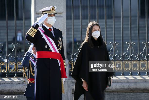 King Felipe VI of Spain and Queen Letizia of Spain attend the New Year Military parade 2020 celebration at the Royal Palace on January 06, 2021 in...
