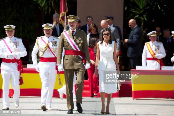King Felipe of Spain and Queen Letizia of Spain deliver the Real Offices in the Central Academy Of The Defense on July 18 2018 in Madrid Spain