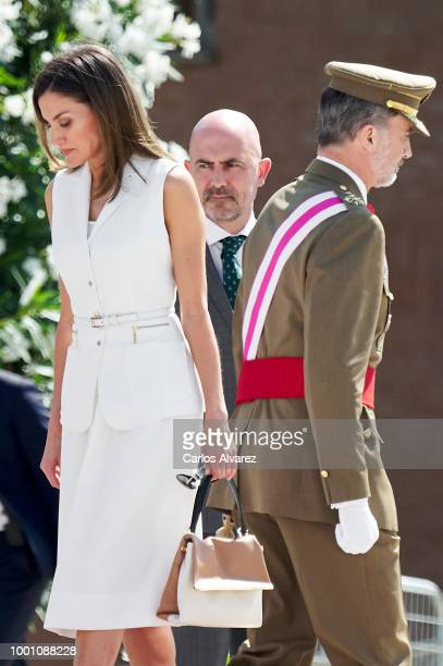 King Felipe VI of Spain and Queen Letizia of Spain attend the delivery of Royal offices of employment at the Central Academy of Defense on July 18,...
