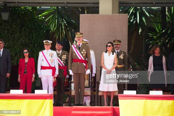 King Felipe VI of Spain and Queen Letizia of Spain attend the delivery of Royal offices of employment at the Central Academy of Defense on July 18...