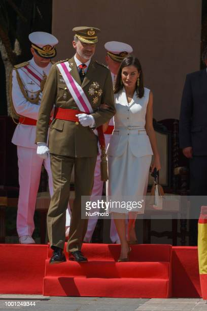King Felipe VI of Spain attends the delivery of Royal offices of employment at the Central Academy of Defense on July 18 2018 in Madrid Spain