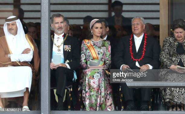 King Felipe VI of Spain and Queen Letizia of Spain attend the Enthronement Ceremony of Emperor Naruhito at the Imperial Palace on October 22, 2019 in...