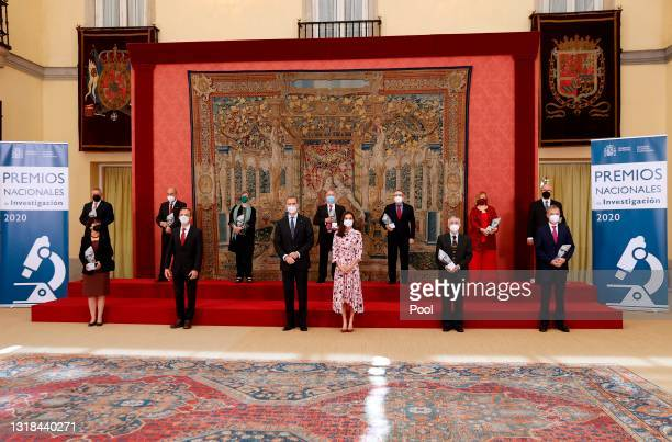 King Felipe VI of Spain and Queen Letizia of Spain attend the delivery of National Research Awards 2020 at the El Pardo Palace on May 17, 2021 in...