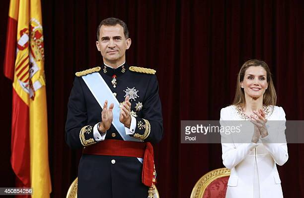 King Felipe VI of Spain and Queen Letizia of Spain attend the Congress of Deputies for the proclamation as King of Spain to the Spanish Parliament on...