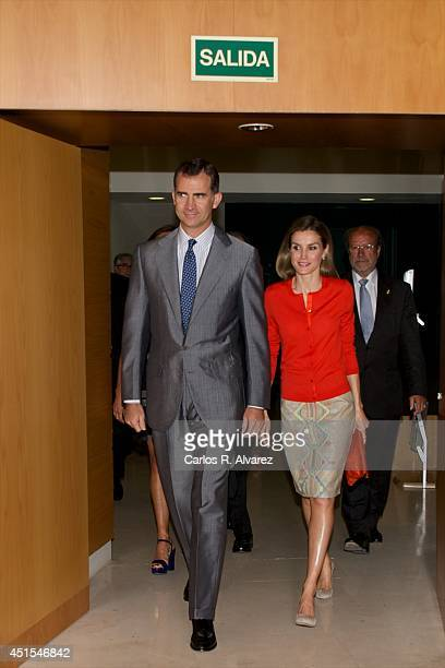 King Felipe VI of Spain and Queen Letizia of Spain attend the delivery of National Innovation and Desing Awards 2013 at Museo de la Ciencia de...