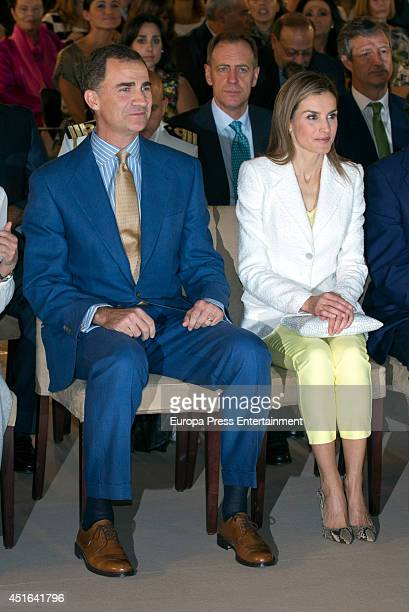 King Felipe VI of Spain and Queen Letizia of Spain attend the delivery of Iberdrola Foundation's scholarships on July 3 2014 in Madrid Spain