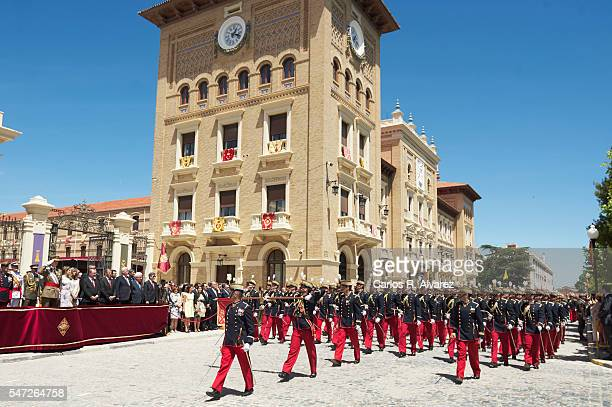 King Felipe VI of Spain and Queen Letizia of Spain attend the delivery of Royal offices of employment at the Military Academy on July 14 2016 in...