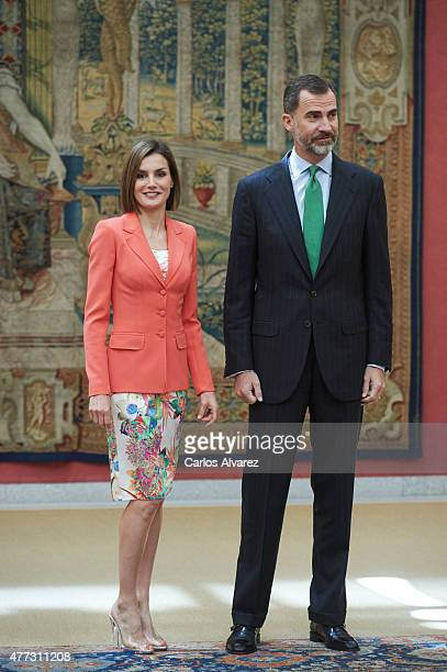 King Felipe VI of Spain and Queen Letizia of Spain attend the Bicentenary of the Council of the Greatness of Spain at the El Pardo Palace on June 16...