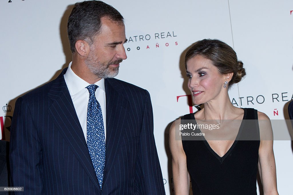 King Felipe VI of Spain and Queen Letizia of Spain attend the inaguration of the Royal Theatre Season on September 15, 2016 in Madrid, Spain.