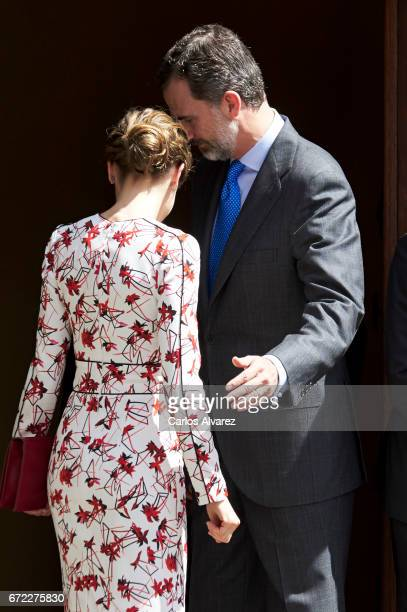 King Felipe VI of Spain and Queen Letizia of Spain attend the presentation on the Unesco World Heritage candidature of the Cultural Landscape of...