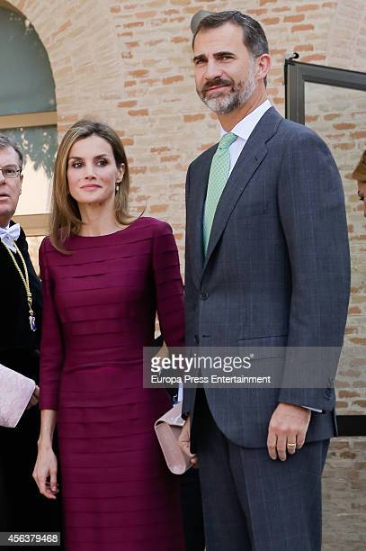 King Felipe VI of Spain and Queen Letizia of Spain attend the opening of the 20142015 University Courses at CastillaLa Mancha University on September...