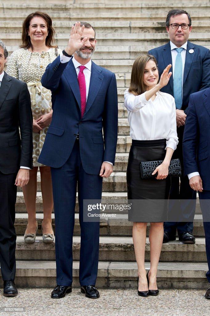 King Felipe VI of Spain and Queen Letizia of Spain attend the opening of 'Escripta. Tesoros Manuscritos de la Universidad de Salamanca' exhibition at the National Library on May 4, 2017 in Madrid, Spain.
