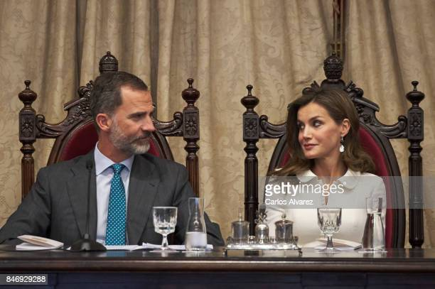 King Felipe VI of Spain and Queen Letizia of Spain attend the opening of the Scholar University College year at the Salamanca University on September...