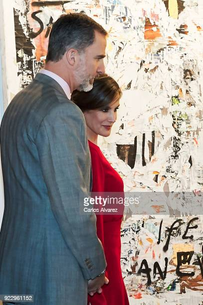 King Felipe VI of Spain and Queen Letizia of Spain attend the opening of ARCO at Ifema on February 22 2018 in Madrid Spain