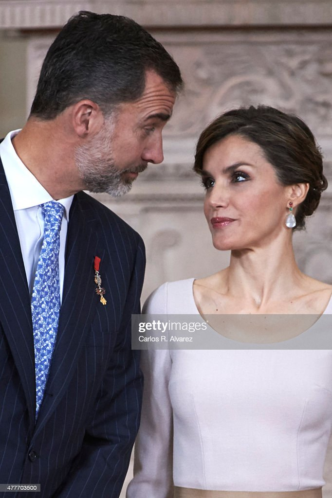 King Felipe VI of Spain and Queen Letizia of Spain attend the 'Order of the Civil Merit' ceremony at the Royal Palace on June 19, 2015 in Madrid, Spain. Spanish Royals celebrate the first anniversary since King Felipe VI Coronation.