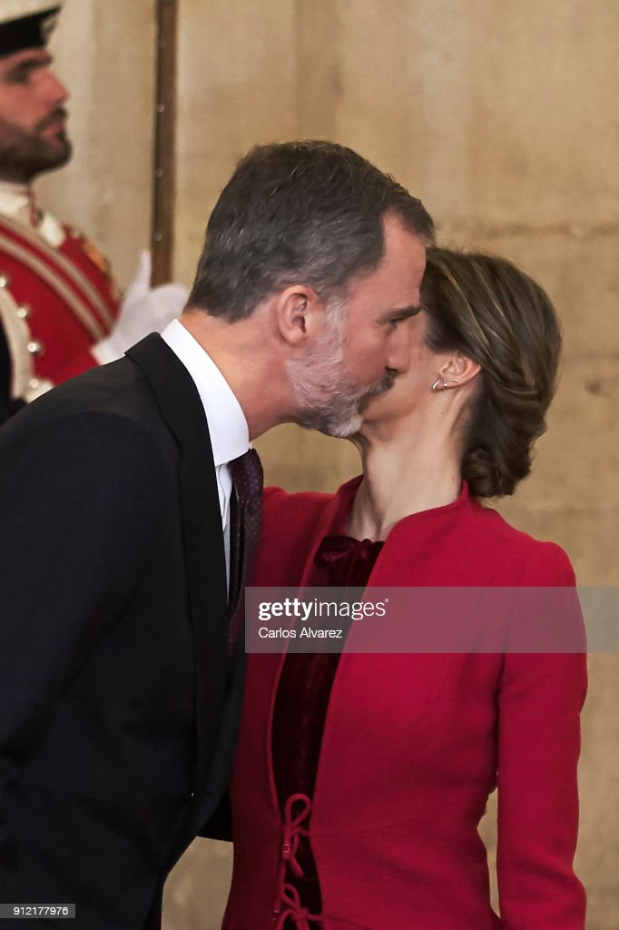 King Felipe VI of Spain and Queen Letizia of Spain attend the Order of Golden Fleece (Toison de Oro), ceremony at the Royal Palace on January 30, 2018 in Madrid, Spain. Today is King's Felipe 50th birthday.