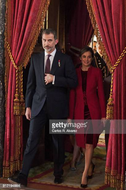 King Felipe VI of Spain and Queen Letizia of Spain attend the Order of Golden Fleece ceremony at the Royal Palace on January 30 2018 in Madrid Spain...