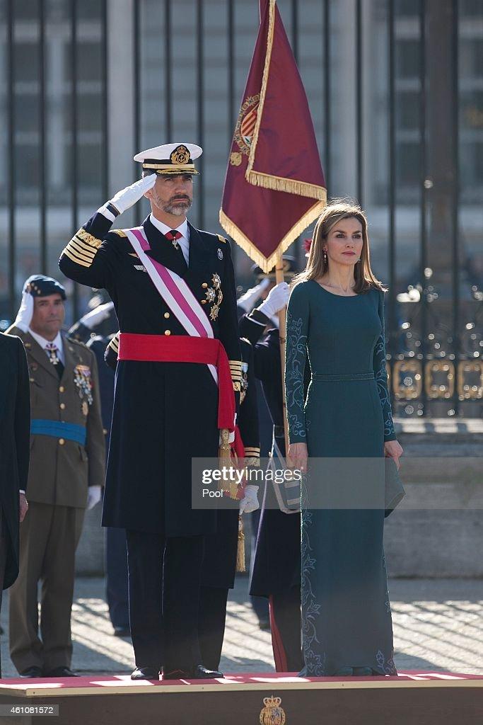 Spanish Royals Celebrate New Year's Military Parade 2015 : News Photo