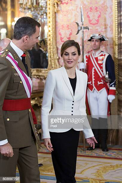 King Felipe VI of Spain and Queen Letizia of Spain attend the Pascua Militar ceremony at the Royal Palace on January 6, 2016 in Madrid, Spain.