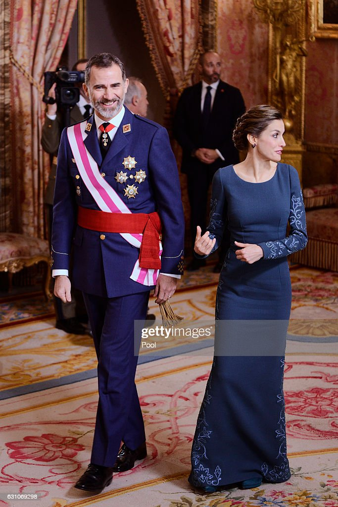 King Felipe VI of Spain and Queen Letizia of Spain attend the Pascua Militar ceremony at the Royal Palace on January 6, 2017 in Madrid, Spain.