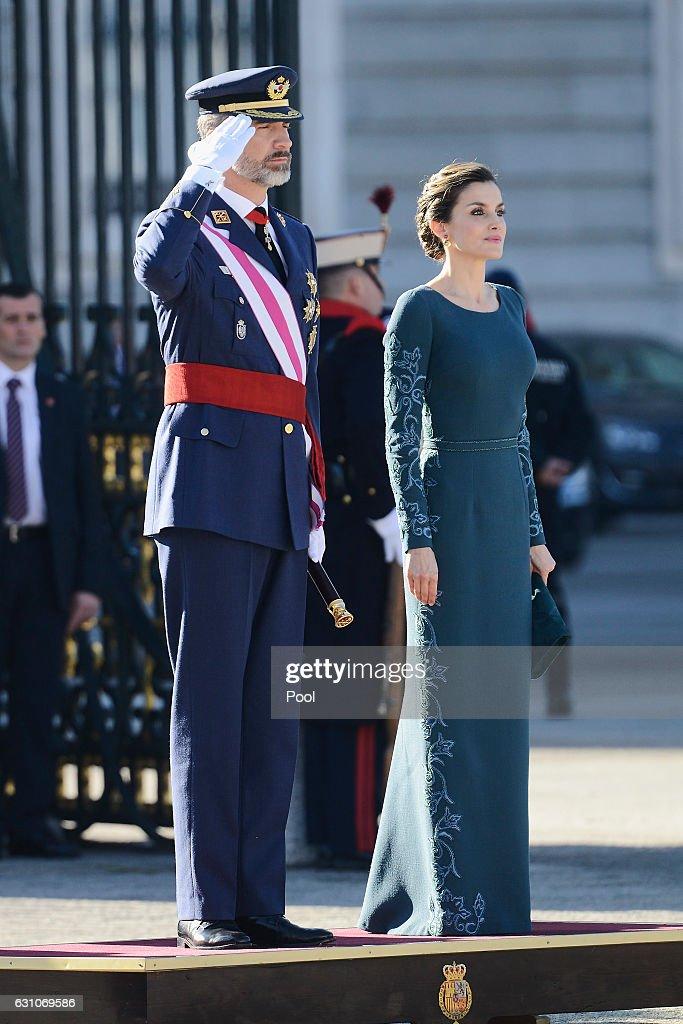 Spanish Royals Celebrate New Year's Military Parade 2017 : News Photo