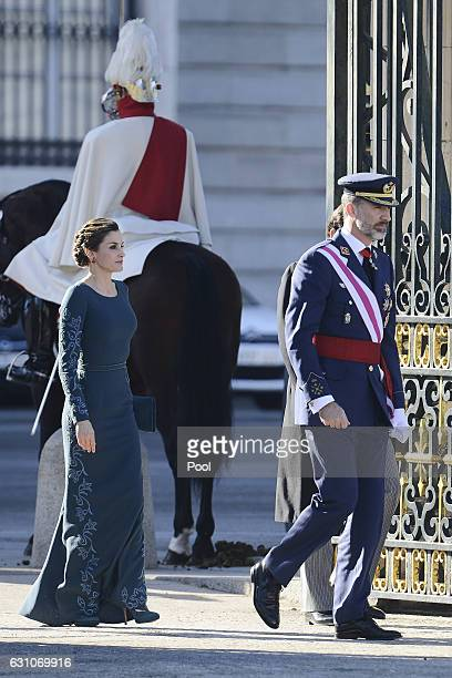 King Felipe VI of Spain and Queen Letizia of Spain attend the Pascua Militar ceremony at the Royal Palace on January 6 2017 in Madrid Spain