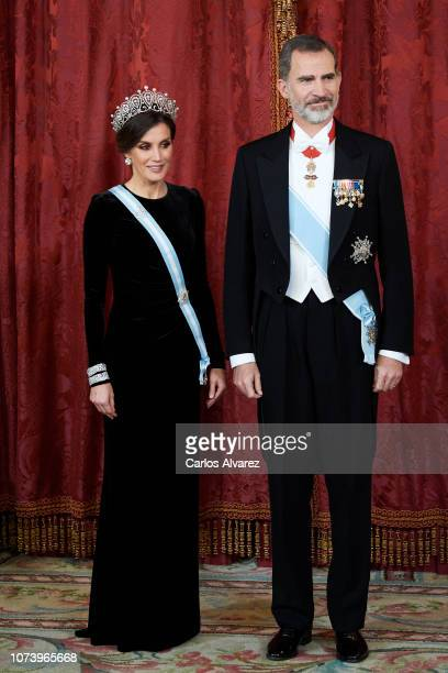 King Felipe VI of Spain and Queen Letizia of Spain attend the Royal Gala Dinner in honour of Chinese president Xi Jinping and wife Peng Liyuan at the...