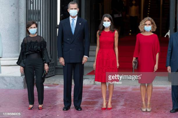 King Felipe VI of Spain and Queen Letizia of Spain attend the Royal Theatre season inauguration on September 18 2020 in Madrid Spain
