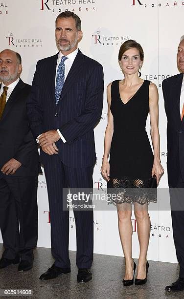 King Felipe VI of Spain and Queen Letizia of Spain attend the Royal Theatre opening season concert on September 15 2016 in Madrid Spain