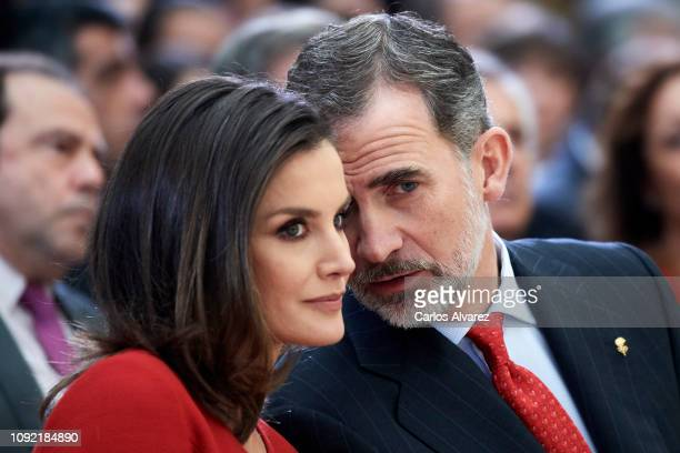 King Felipe VI of Spain and Queen Letizia of Spain attend the National Sports Awards 2017 at the El Pardo Palace on January 10, 2019 in Madrid, Spain.