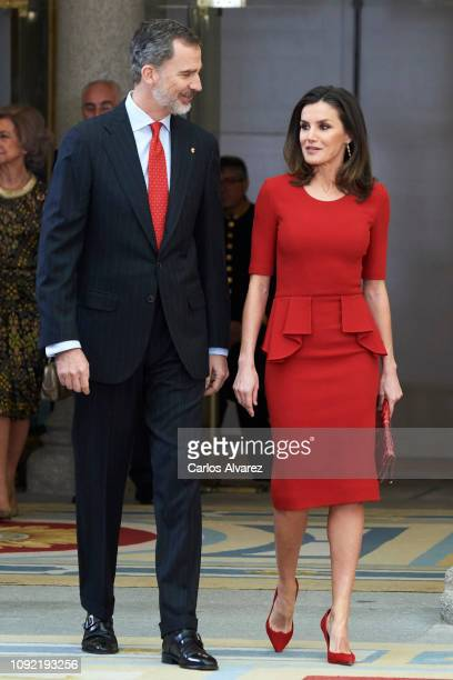 King Felipe VI of Spain and Queen Letizia of Spain attend the National Sports Awards 2017 at the El Pardo Palace on January 10 2019 in Madrid Spain