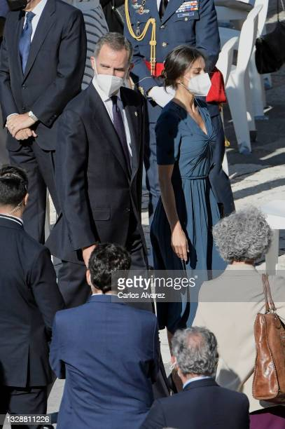 King Felipe VI of Spain and Queen Letizia of Spain attend the State tribute to the victims of the coronavirus at the Royal Palace on July 15, 2021 in...
