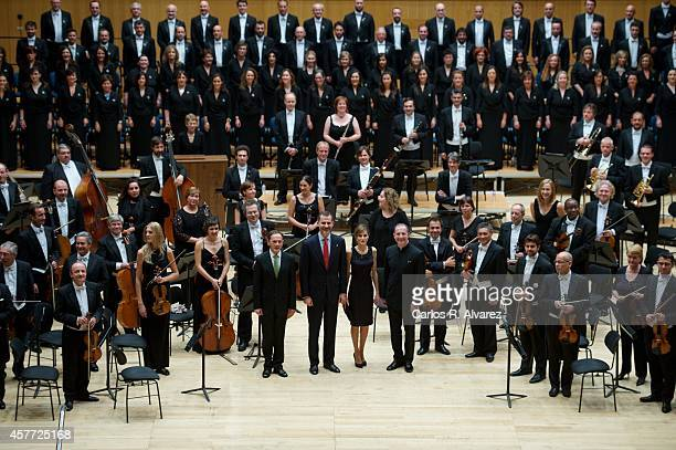 King Felipe VI of Spain and Queen Letizia of Spain attend the 'XXIII Musical Week' closing concert at the Principe Felipe Auditorium during the...