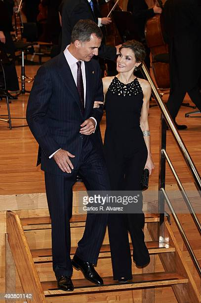 King Felipe VI of Spain and Queen Letizia of Spain attend the 'XXIV Musical Week' closing concert at the Principe Felipe Auditorium during the...