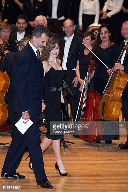 King Felipe VI of Spain and Queen Letizia of Spain attend the 'XXV Musical Week' closing concert at the Principe Felipe Auditorium during the...
