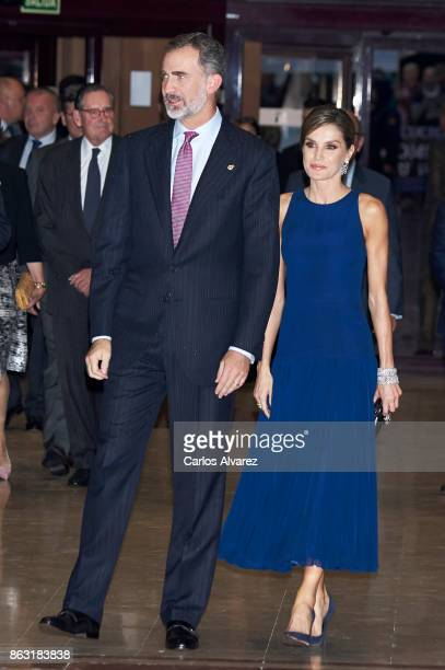 King Felipe VI of Spain and Queen Letizia of Spain attend the 'XXVI Musical Week' closing concert at the Principe Felipe Auditorium during the...
